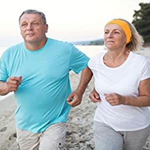 man with a blue shirt and woman in white shirt running to heart health