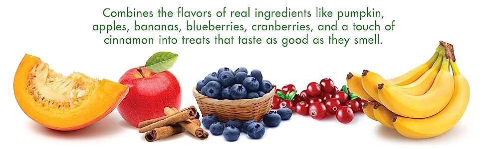 Real ingredients like pumpkin, apples, bananas, blueberries, cranberries, cinnamon.