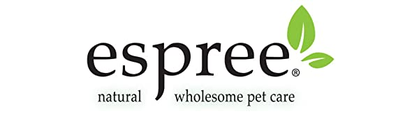 espree logo natural and wholesome pet care with a two leaves