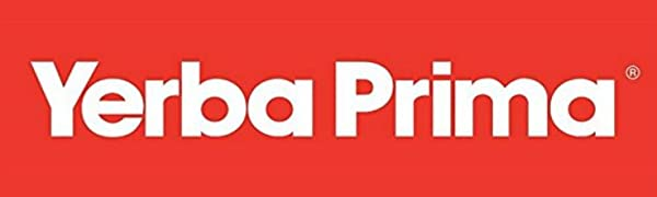 Yerba Prima brand logo written in red and white for dietary supplements and daily fiber