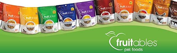 Fruitables Family of Healthy Dog Training Treats. Vegan and Vegetarian varieties available.