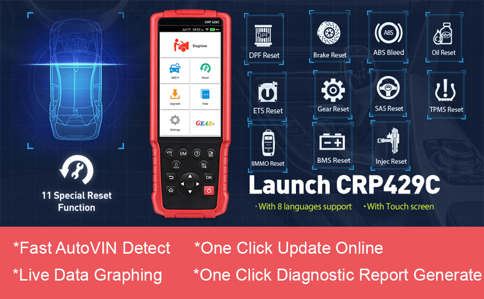 LAUNCH Upgraded Version CRP429C OBD2 Diagnostic Scan Tool ENG/TCM SRS with  Oil Lamp, ABS Bleeding,EPB,DPF Regeneration,IMMO,Injector Coding,BMS,