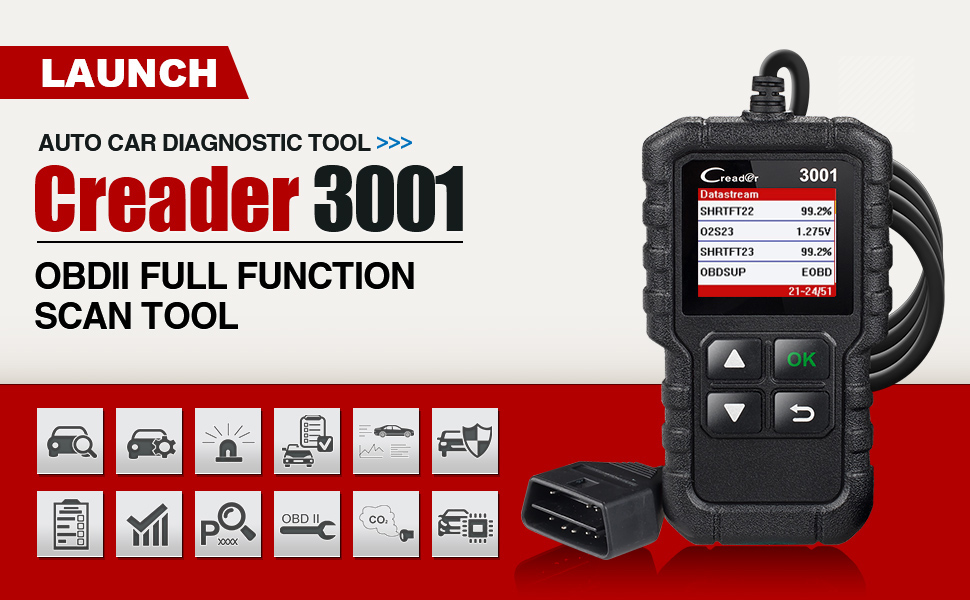 LAUNCH OBD2 Scanner Creader 3001 OBDII EOBD OBD 2 Car Fault Code Reader OBD  II Diagnostic Scan Tool