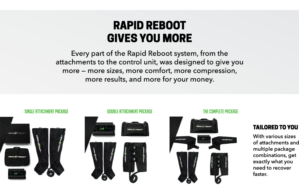 Rapid Reboot Recovery System: Compression Boots, Pump, and Case. Sequential, Dynamic air Compression for Massage Therapy, Improved Circulation and ...