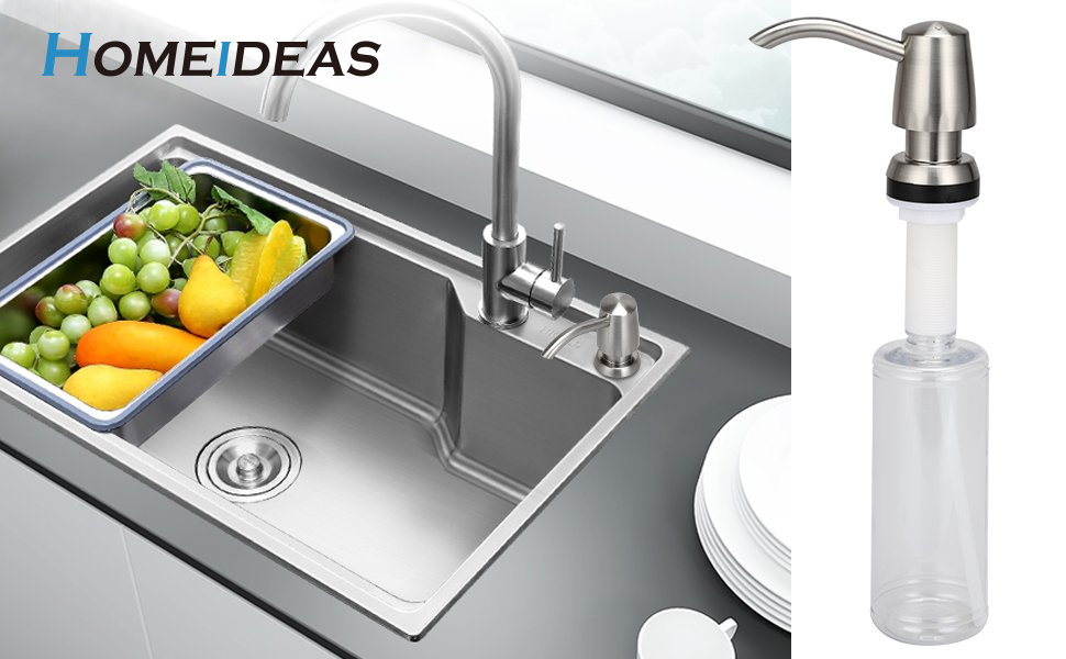 Homeideas Kitchen Sink Soap Dispenser Abs Plastic Pump With 11oz Clear Sturdy Bottle Abs Chrome Finished