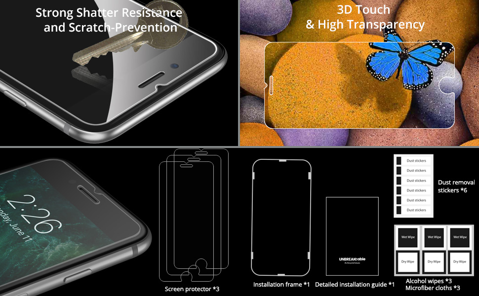 Tempered Glass Screen Protector Compatible with Apple iPhone 8 Plus 7 Plus 5.5 Inches
