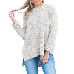 MEROKEETY Women s Long Sleeve Sherpa Fleece Knit Sweater Side Slit ... 38eb4b2c9