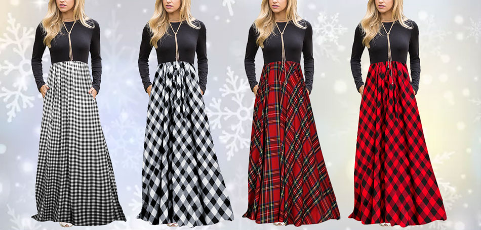 1c2460cd9faad MEROKEETY Women s Plaid Long Sleeve Empire Waist Full Length Maxi ...