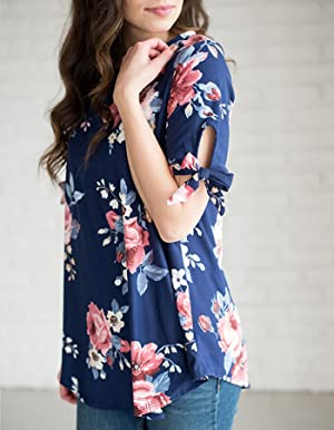 Amazon.com: merokeety Mujer Cuello Redondo Floral impresión ...
