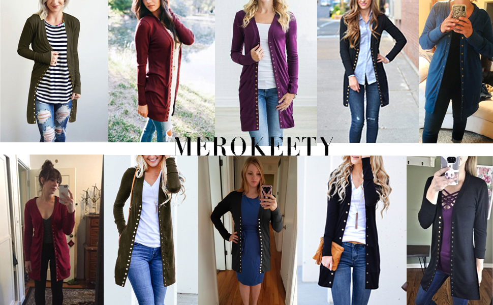 , MEROKEETY Women's Long Sleeve Snap Button Down Solid Color Knit Ribbed Neckline Cardigans, Luxoney