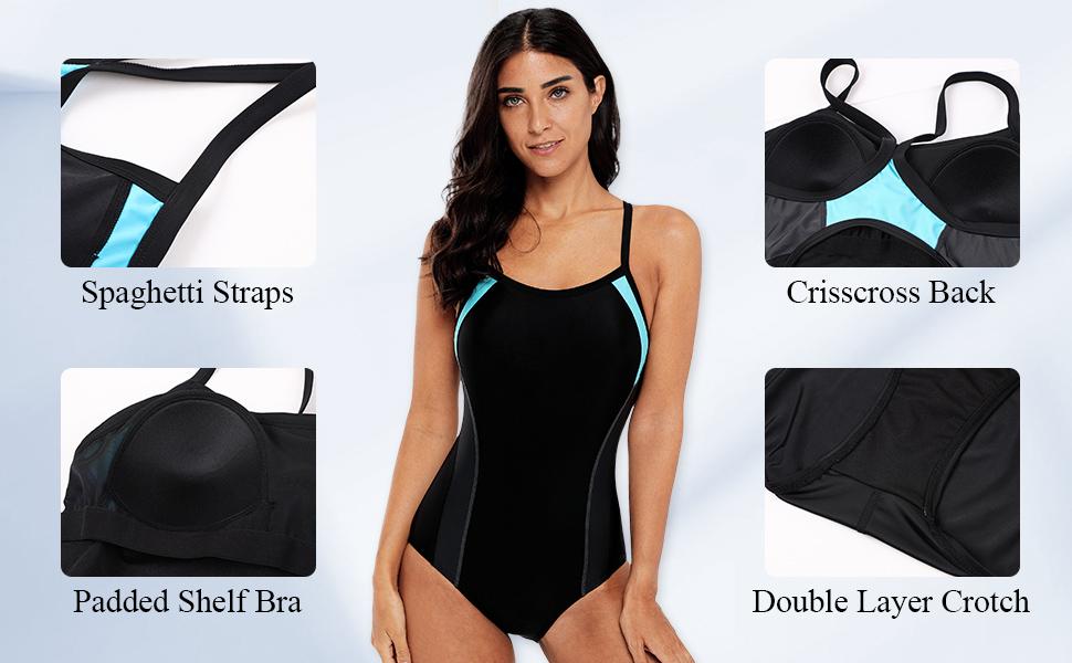 90f95a757a Vegatos Women's Pro Sports One Piece Swimsuit Athletic Lap Swimwear ...