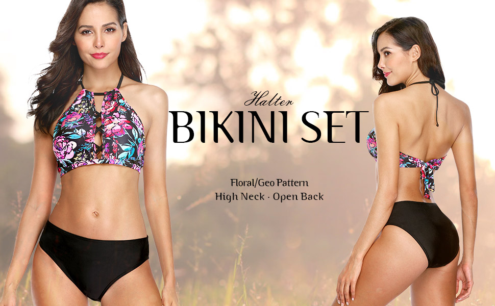 28f58c6347 Amazon.com  Vegatos Women High Neck Halter Bikini Set Padded Two ...