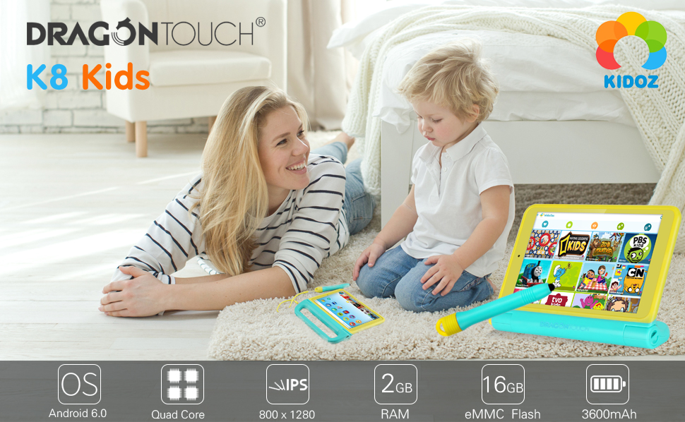 picture of a mother and child beside their dragon touch K8 kids tablet.