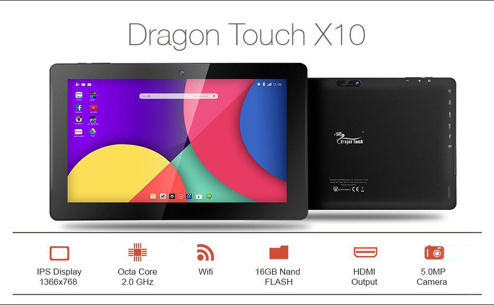 Picture of the Dragon touch x 10 tablet.