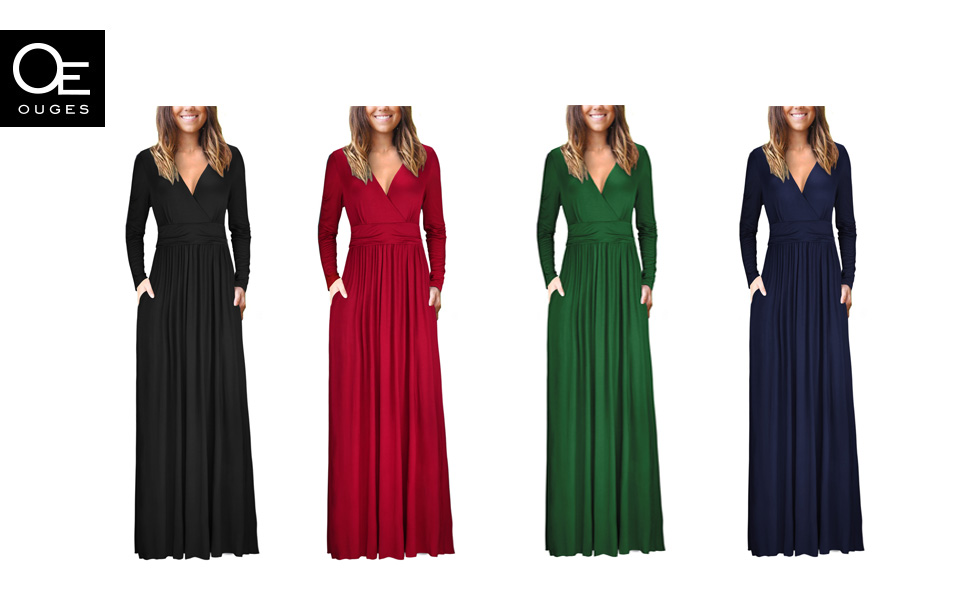 OUGES LONG SLEEVE MAXI DRESS