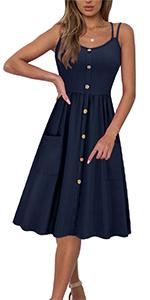 women strap button dress