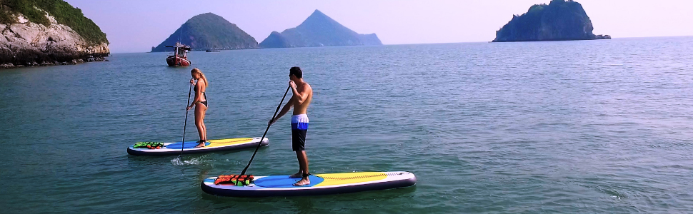 Blue Water 11 Premium SUP | Inflatable Stand Up Paddle Board Set | 34 Inches Wide Extra Stable | Extra Large Non-Slip Deck | 6 Inches Thick | Youth & ...