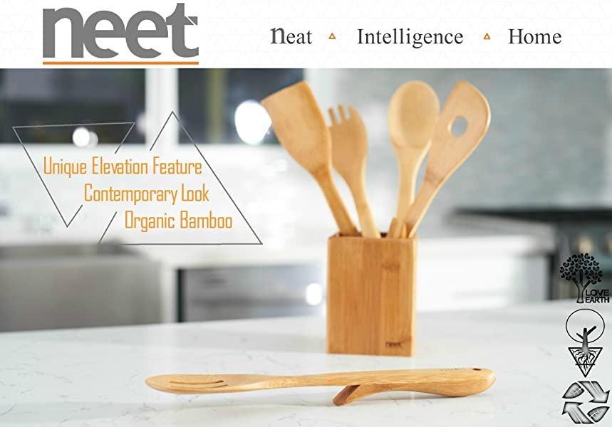 neet organic elevated wooden bamboo cooking serving