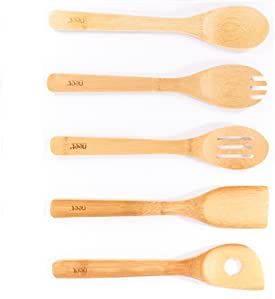 Amazon Com Organic Bamboo Cooking Amp Serving Utensil Set