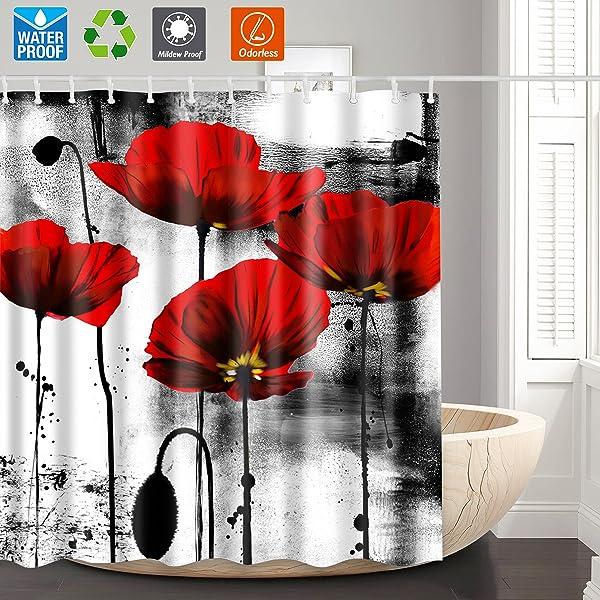 Amazon Shower CurtainBathroom CurtainRed Flower Unique Shower
