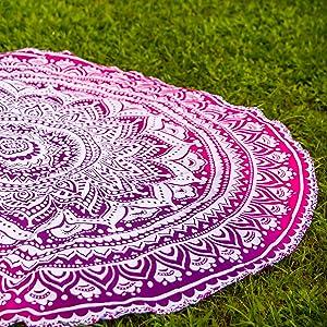 Mandala Roundie Beach Towel Yoga Mat Pink