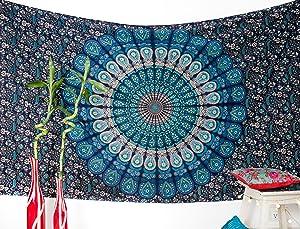 Amazon.com: folkulture Juego de 2 Mandala tapiz colgante de ...