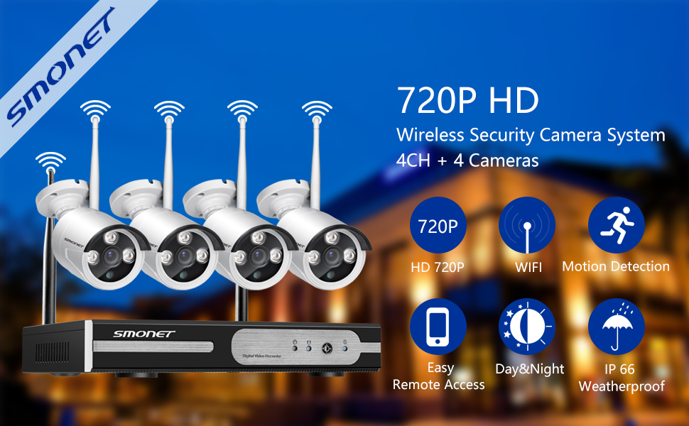 SMONET 4CH NVR HD 720P Wireless IP Security Camera System ...