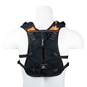 Trekking pole mount on back with shock cord rear cargo and zipper secure