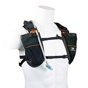 Elastic chest harness and soft flask hydrapak storage with safety whistle