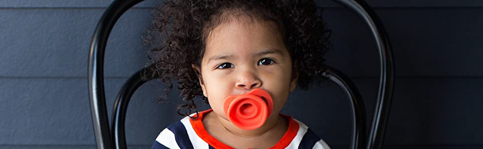 The Doddle and Co Pop Pacifier is safe for older infants too!
