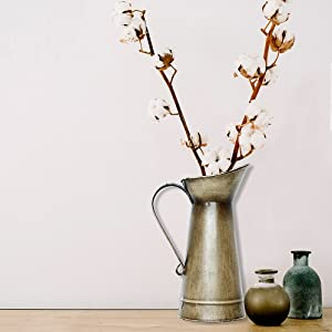lifestyle photo for Antique Gold Watering Milk Jug Vase