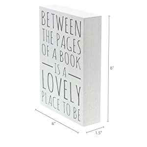 Dimensions photo for Between The Pages of a Book Box Sign