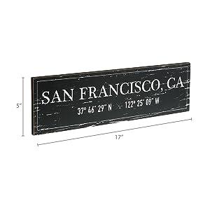 Dimensions photo for San Francisco, CA Wood Plaque