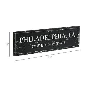 Dimensions photo for Philadelphia, PA Wood Plaque