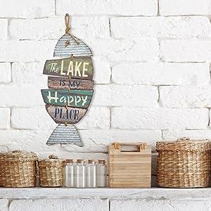 Amazon.com: El lago es My Happy Place cartel de madera ...