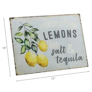 dimension photo for When Life Gives You Lemons Add Salt & Tequila Funny Retro Vintage Tin Bar Sign