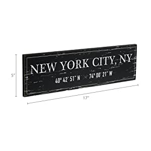 Dimensions photo for New York City, NY Wood Plaque