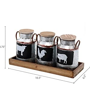 Dimension photo for Galvanized Metal Jars with Rustic Handles and Wood Lid & Tray