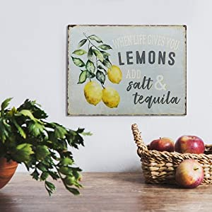 lifestyle image for When Life Gives You Lemons Add Salt & Tequila Funny Retro Vintage Tin Bar Sign