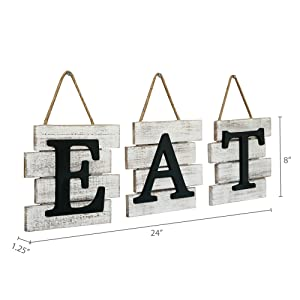 Dimensions pic of EAT sign wall decor