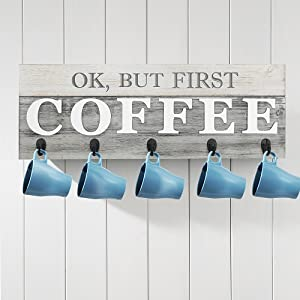 "Barnyard Designs Ok, But First Coffee Mug Holder - Rack - Display, Rustic Farmhouse Wood Coffee Wall Decor Sign for Kitchen, Bar, Cafe 24"" x 8.5"""