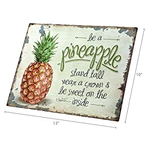 dimension photo for Be A Pineapple Retro Vintage Tin Bar Sign