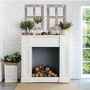 barn frames ontop of fireplace