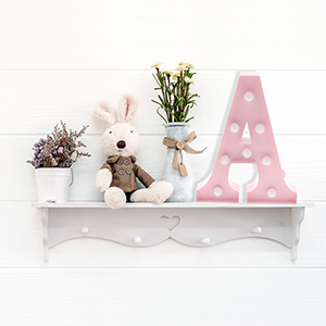 Pink Marquee Letters On Shelf Nursery