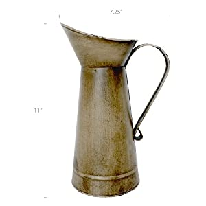 dimension photo for Antique Gold Watering Milk Jug Vase