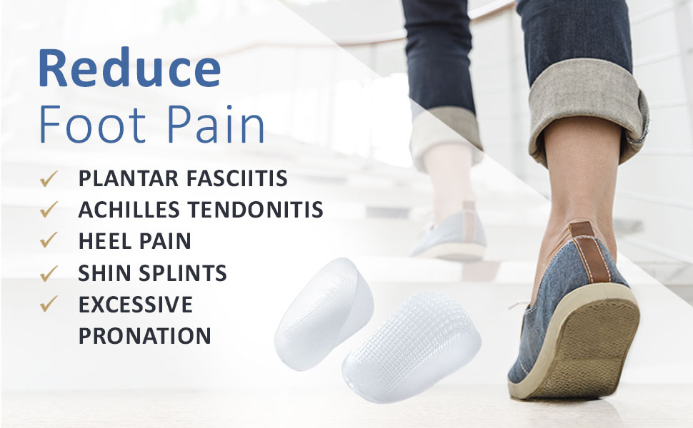 Tulis Classic Gel Heel Cups (2-Pairs), TuliGEL Shock Absorption Gel Cushion Insert for Plantar Fasciitis and Heel Pain Relief, Large