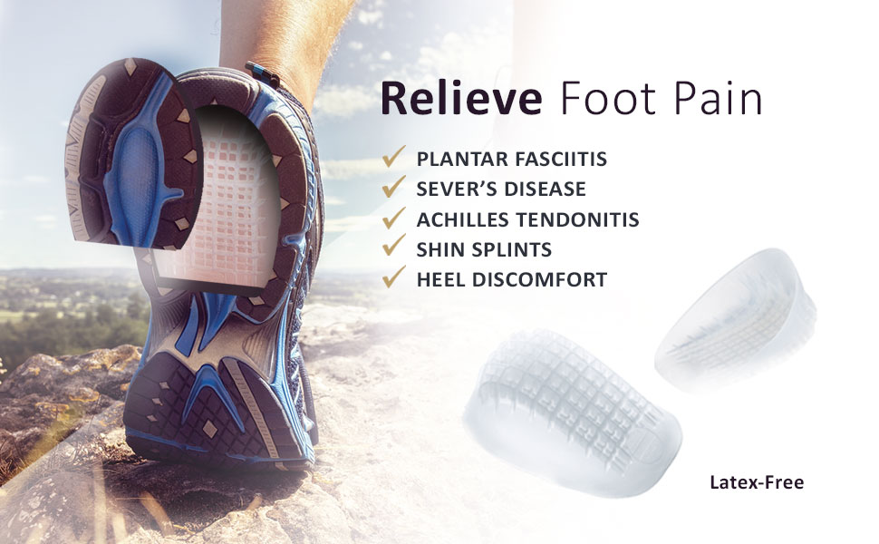 Tulis Heavy Duty Gel Heel Cup (2-Pairs), TuliGEL Shock Absorption Cushion Insert for Plantar Fasciitis, Severs Disease and Heel Pain Relief, Regular