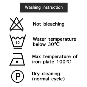Machine wash cold Tumble dry gentle cycle low heat not bleaching Cool touch up iron if desired