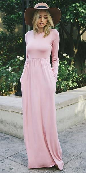 d3eb8df0ba Tabeez Women s Casual Long Babydoll Jersey Maxi Dress With Long ...
