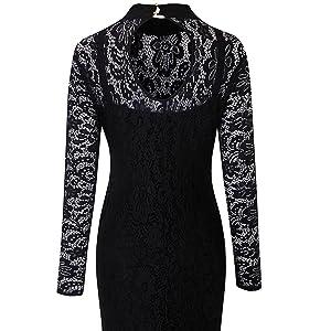 87c4e89cafd3e Dokotoo Womens Plus Size High Neck Lace Fishtail Maxi Dress at ...